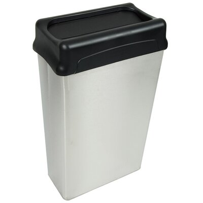 Witt 22 Gallon Rectangular Stainless Steel Waste Basket with Drop Top