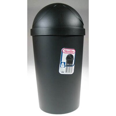 Sterilite 42 Quart Black Round Swing-Top Wastebasket