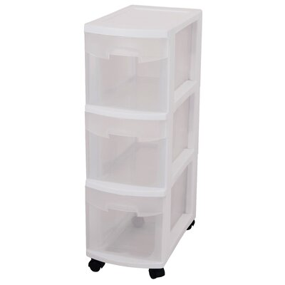 Sterilite 3 Drawer Narrow Storage Cart