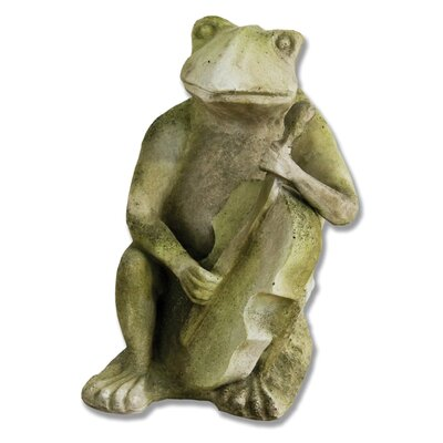 OrlandiStatuary Animals Frog Singing Jazz-Bass Statue