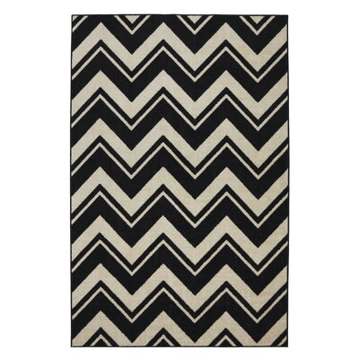 Mohawk Select Strata Black/White Lascala Chevron Stripe Rug