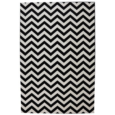 Mohawk Select Outdoor Patio Woven Black Herringbone Rug