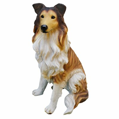 Long - Haired Collie Dog Statue