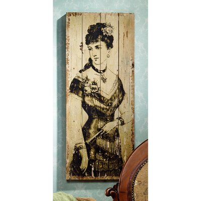La Mode Illustree Lady with Fan Victorian Fashion Graphic Art Plaque