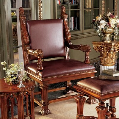 Design Toscano Lord Cumberland's Throne Leather Arm Chair