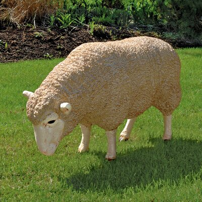 Merino Ewe Life Size Head Down Sheep Statue