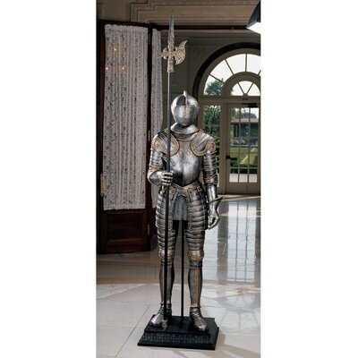 16th Century Italian Armor Sculpture with Halberd in Faux Silver and Brass