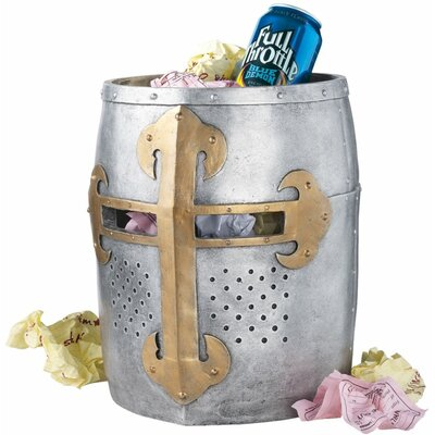 Design Toscano Crusader's Great Helm Gothic Trash Bin in Faux Metal