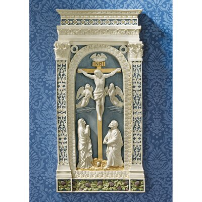 Crucifixion (1521) Wall Sculpture in Blue and Cream