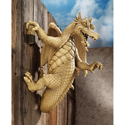 Dread the Dangling Dragon Wall Sculpture in Faux Stone