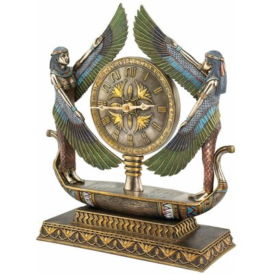 Wings of Isis Egyptian Revival Sculptural Clock