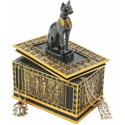 Royal Bastet Egyptian Box in Gold and Ebony