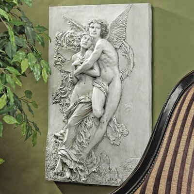 Design Toscano Cupid and Psyche Sculptural Wall Frieze in Antique Stone