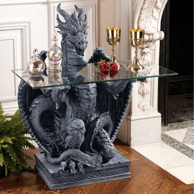 The Subservient Dragon Glass Topped Sculptural Console Table