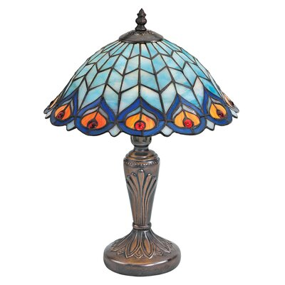 Design Toscano Peacock Feathers Stained Glass Table Lamp