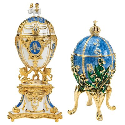 Design Toscano Empress Valentina and Empress Galina Collectible Enameled Eggs