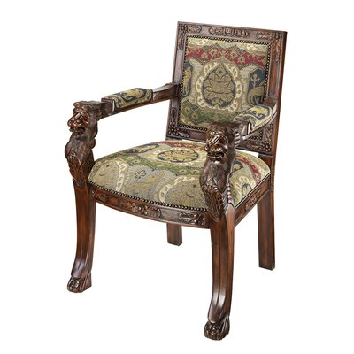 Beardsley Heraldic Lion Fabric Arm Chair