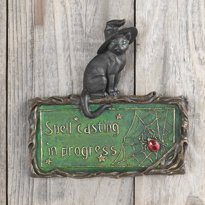 Design Toscano Witch's Cat Spell-Casting Wall Sculpture