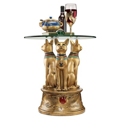 Royal Golden Bastet Egyptian End Table