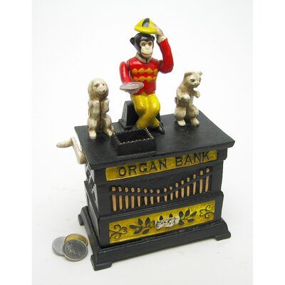 Design Toscano Authentic Organ Grinder's Performing Monkey Foundry Mechanical Bank Figurine