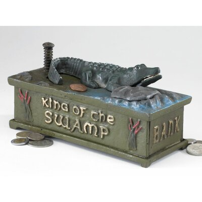 Authentic King of the Swamp Alligator Foundry Mechanical Bank Figurine