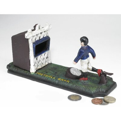 Authentic Old-Fashioned Footballer Foundry Mechanical Bank Figurine