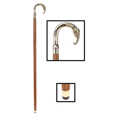 Design Toscano Elephant Polished Brass Curved Handle Walking Stick