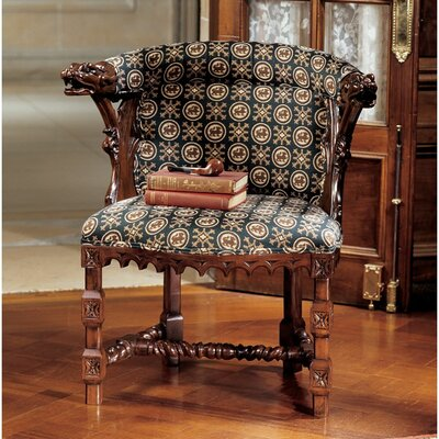 Design Toscano Kingsman Manor Dragon Fabric Arm Chair