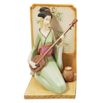 Japanese Geisha Musical Court Sculptural with Shamisen