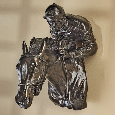 Racing the Wind Horse and Jockey Wall Sculpture