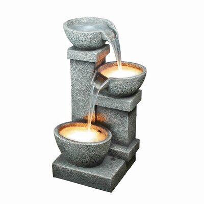 Design Toscano Resin Three Bowls Vertical Fountain