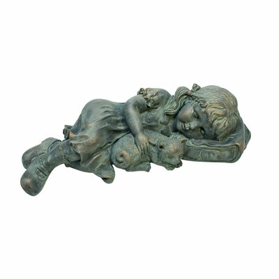 Sleeping Child with Cat Garden Statue