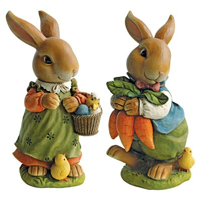 Bunny Hop Lane Mother and Father Rabbit Statue (Set of 2)