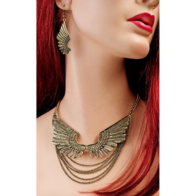 Wings of Isis Necklace and Drop Earring Ensemble