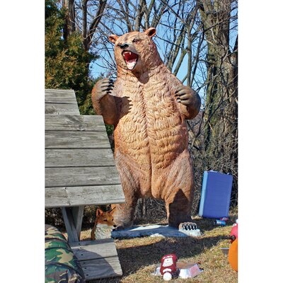 Growling Grizzly Bear Life-Size Statue