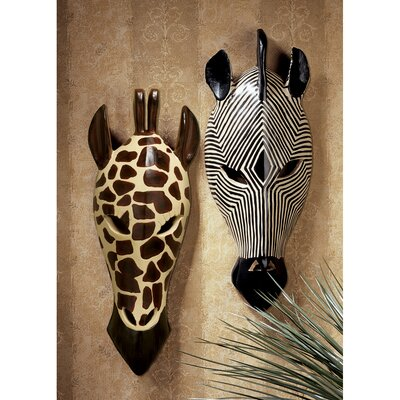 Tribal-Style Animal Wall Mask (Set of 2)