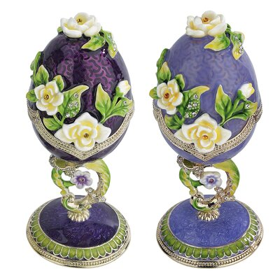 Spring Bouquet Enameled Egg (Set of 2)