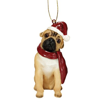 Design Toscano Pug Holiday Dog Ornament Sculpture