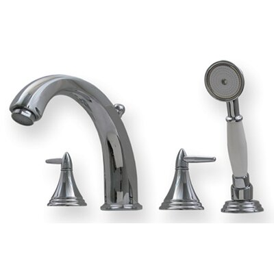 Whitehaus Collection Blairhaus Double Handle Deck Mount Roman Tub Faucet with Beveled Escutcheons