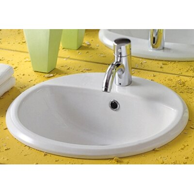 Whitehaus Collection China Blu Round Bathroom Sink with Overflow