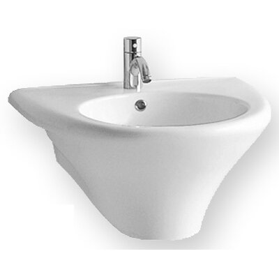 Whitehaus Collection China Wall Mount U-Shaped Bathroom Sink with Integrated Round Bowl