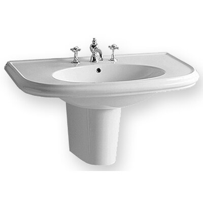 Whitehaus Collection China Wall Mount Large U-Shaped Bathroom Sink with Integrated Oval Bowl