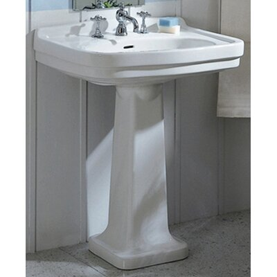 China Large Pedestal Bathroom Sink with Blacksplash - LO924-LO905