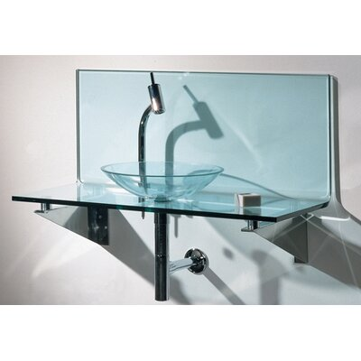 Whitehaus Collection New Generation Transparent Glass L-Shaped Top System with Glass Basin