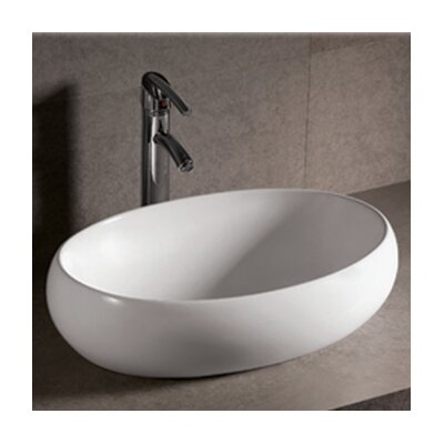 Whitehaus Collection Isabella Oval Bathroom Sink with Offset Center Drain