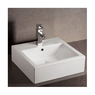 Isabella Square Bathroom Sink with Overflow and Rear Center Drain - WHKN1059