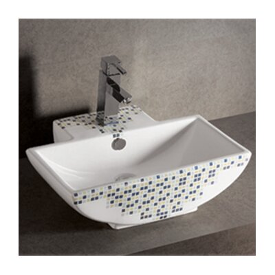 Isabella Decorative Tile Rectangular Bathroom Sink with Center Drain - WHKN4047-03