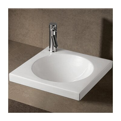 Isabella Square Semi-Recessed Bathroom Sink with Center Drain - WHKN4061