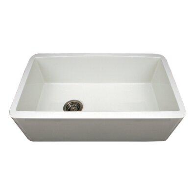 "Whitehaus Collection Duet 30"" x 18"" Single Bowl Farmhouse Kitchen Sink"
