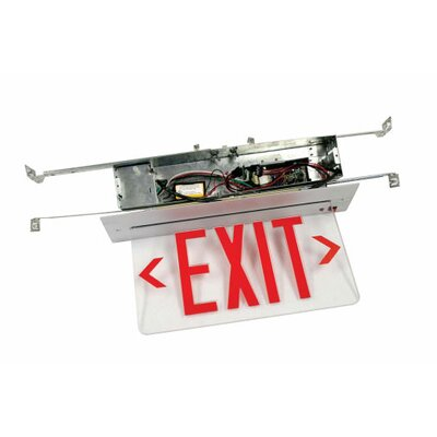 Deco Lighting Recessed Edge Lit Single Face LED Exit Sign for Hard Lid Ceilings
